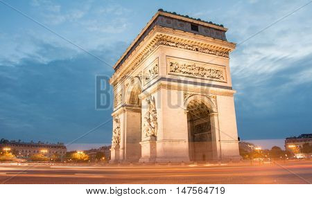 The Triumphal Arch in the early morning Paris France.