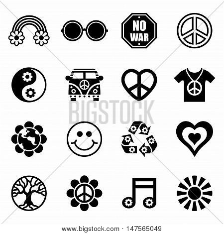 Vector Hippie icon set on white background