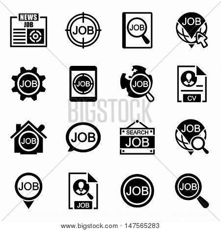 Vector Job search icon set on white background