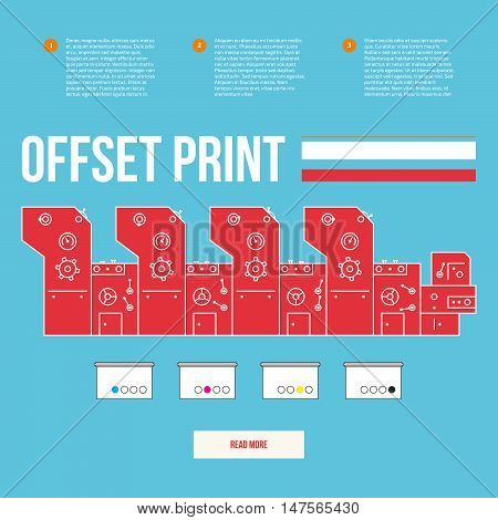 Advertisement offset machine concept. Color paint for print. Liquid cyan magenta yellow black colors. Media equipment. Vector printing machinery design with gears. Business info graphics elements.