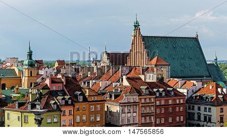 Aerial view of the Old Town in Warsaw, Poland.