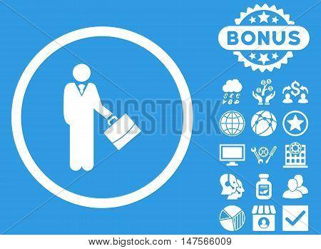Businessman icon with bonus elements. Vector illustration style is flat iconic symbols, white color, blue background.