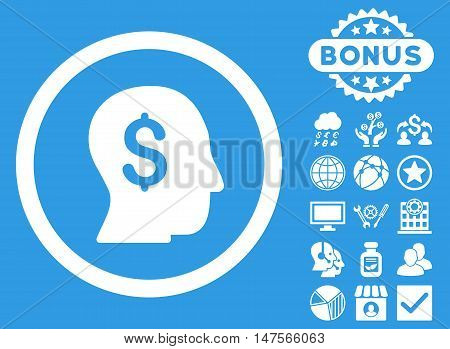Businessman icon with bonus images. Vector illustration style is flat iconic symbols, white color, blue background.