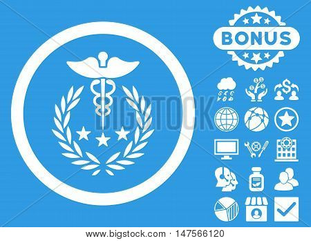 Caduceus Logo icon with bonus elements. Vector illustration style is flat iconic symbols, white color, blue background.