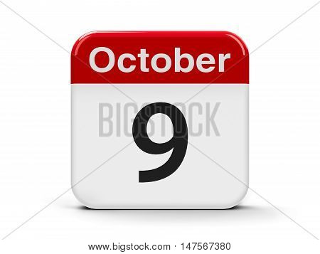 Calendar web button - The Ninth of October - World Post Day three-dimensional rendering 3D illustration