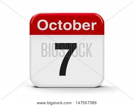 Calendar web button - The Seventh of October three-dimensional rendering 3D illustration