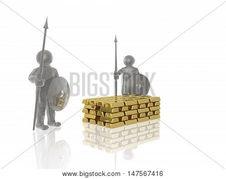Grey armed mans with gold on white background, 3D illustration.
