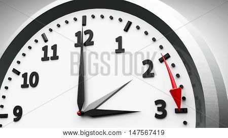 Clock switch to summer time (daylight saving time begins) isolated on a white three-dimensional rendering 3D illustration