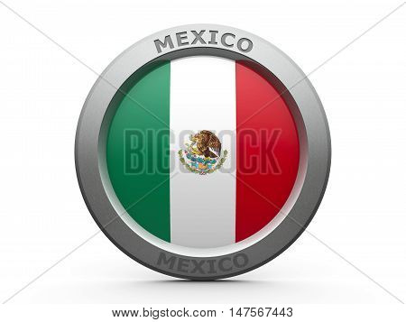 Emblem - Flag of Mexico - isolated on white three-dimensional rendering 3D illustration