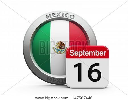 Emblem of Mexico with calendar button - The Sixteenth of September - represents the Mexico Independence Day three-dimensional rendering 3D illustration
