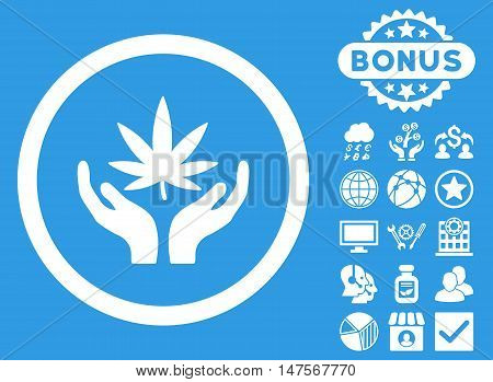 Cannabis Care Hands icon with bonus symbols. Vector illustration style is flat iconic symbols, white color, blue background.