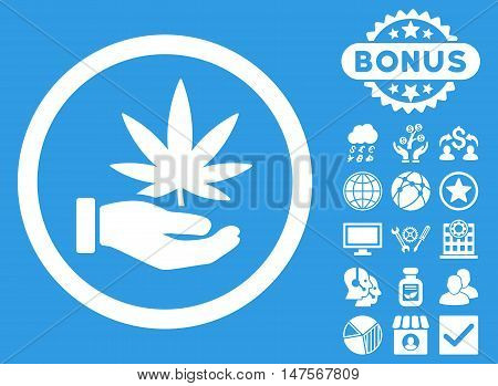 Cannabis Offer Hand icon with bonus elements. Vector illustration style is flat iconic symbols, white color, blue background.