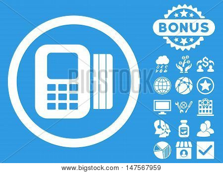 Card Processor icon with bonus pictures. Vector illustration style is flat iconic symbols, white color, blue background.
