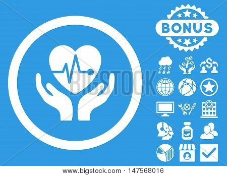 Cardiology icon with bonus symbols. Vector illustration style is flat iconic symbols, white color, blue background.