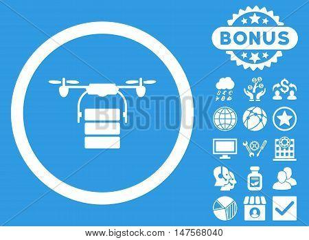 Cargo Drone icon with bonus pictogram. Vector illustration style is flat iconic symbols, white color, blue background.