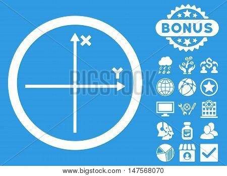 Cartesian Axis icon with bonus pictogram. Vector illustration style is flat iconic symbols, white color, blue background.