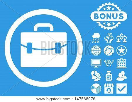Case icon with bonus elements. Vector illustration style is flat iconic symbols, white color, blue background.