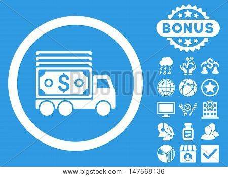 Cash Lorry icon with bonus design elements. Vector illustration style is flat iconic symbols, white color, blue background.