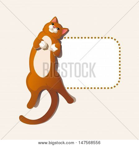 Happy cute red Cat lying down on frame vector