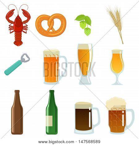 Set of beer glasses bottle and snack. Vector stock illustration.