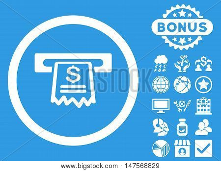 Cashier Receipt icon with bonus pictures. Vector illustration style is flat iconic symbols, white color, blue background.
