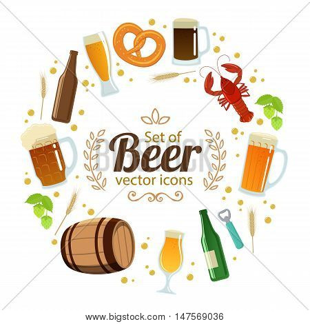 Round frame with colorful beer icons. Template for packaging cards posters menu. Vector stock illustration.