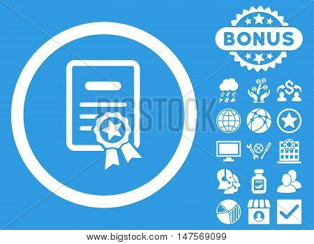 Certified Diploma icon with bonus symbols. Vector illustration style is flat iconic symbols, white color, blue background.