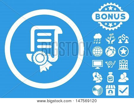 Certified Scroll Document icon with bonus design elements. Vector illustration style is flat iconic symbols, white color, blue background.