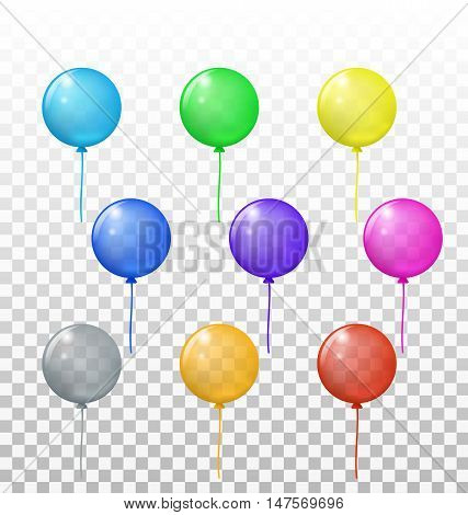 Vector set of bright colored transparent circle balloons