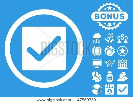 Check icon with bonus elements. Vector illustration style is flat iconic symbols, white color, blue background.