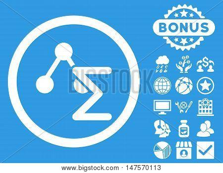 Chemical Formula icon with bonus images. Vector illustration style is flat iconic symbols, white color, blue background.