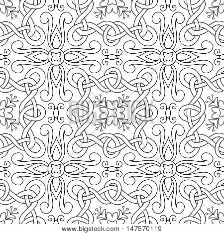 Vector seamless pattern of hand drawn outlines interwoven ribbons and flowers