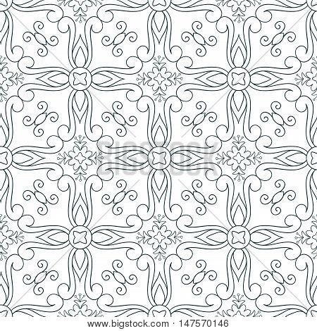 Vector seamless pattern of hand drawn outlines ornament with swirls and flowers