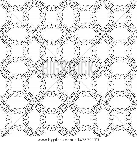 Vector seamless pattern of hand drawn outlines ornament with swirls