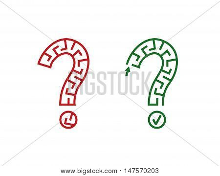 Vector illustration of two mazes in shape of question sign