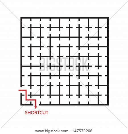 Vector illustration of black square maze with shortcut shown by red arrow