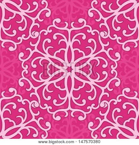 Vector pink seamless pattern of curly ornament with round motives