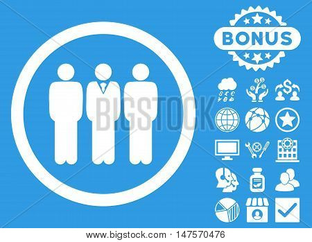 Clerk Staff icon with bonus pictures. Vector illustration style is flat iconic symbols, white color, blue background.