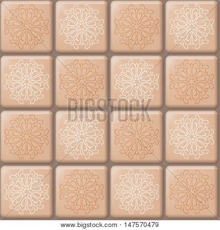 Vector seamless pattern of beige square mosaic with abstract ornament. Tile background