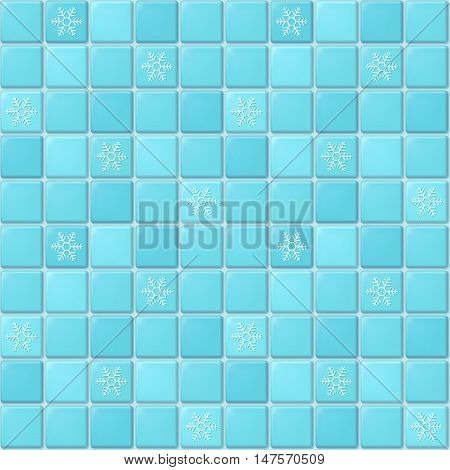 Vector seamless pattern of blue square mosaic with ornament of snowflakes. Winter tile background