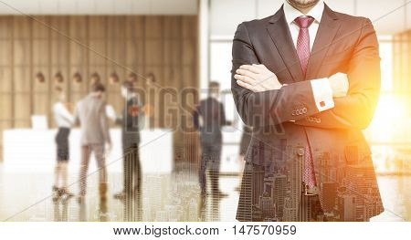 Three businessmen in suits standing in busy office lobby with reception counter. Concept of successful business. Toned image. Double exposure