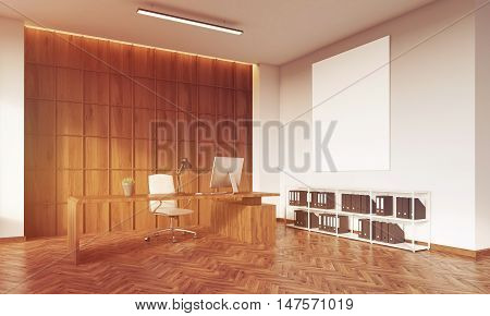 CEO office with wooden table wooden wall white leather armchair desktop and book shelves with binders. Big vertical poster on wall. Concept of management. 3d rendering. Mock up. Toned image