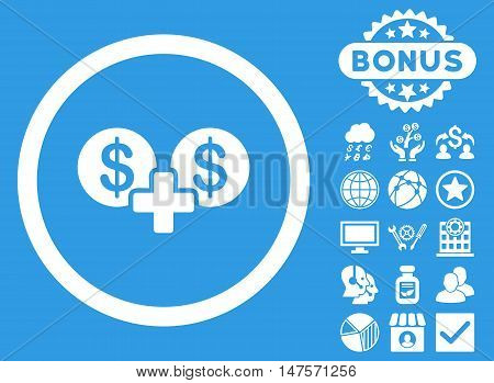 Coins Sum icon with bonus pictogram. Vector illustration style is flat iconic symbols, white color, blue background.