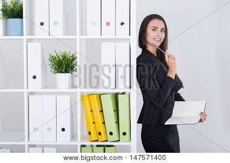 Standing Business Lady Writing Her Thoughts Down