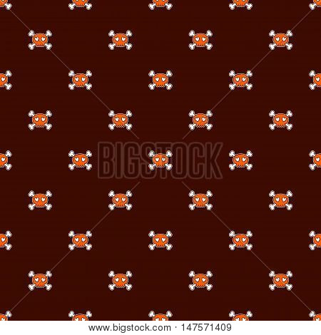 Seamless Halloween pattern. Wallpaper with orange skulls on brown background. Tileable backdrop with Halloween symbols. Vector illustration.