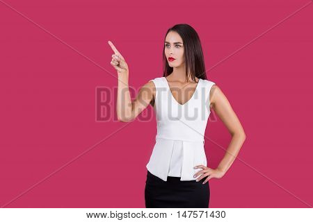 Woman In White Top Pointing