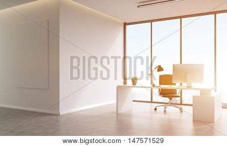 Office interior with table poster on wall and large panoramic window. Concept of office life. 3d rendering mock up toned image