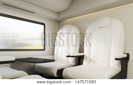 Two White Armchairs In Compartment