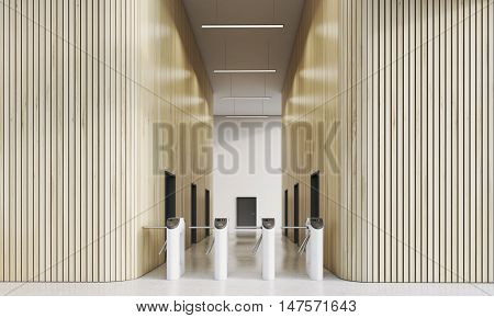 Turnstiles in modern company's office with wooden walls. Concept of entering business world is not easy in our time. 3d rendering mock up