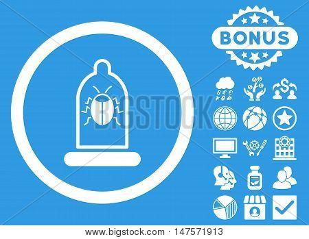 Condom Bug icon with bonus design elements. Vector illustration style is flat iconic symbols, white color, blue background.